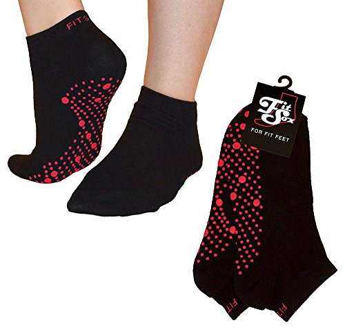 FitSox Pilates, Yoga, Barre, Ballet, Dance, Fitness, Martial Arts, Gym, Workout, Anti Slip, Non Slip, Grip, Skid, Fall Prevention, Hospital. Socks, Sox, Fit Products. (Black/Red) (Workouts Arts Martial)
