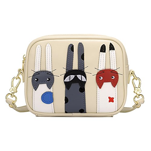 QZUnique Women's PU Square Cat Style CrossBody Purse Cartoon Tote Convertible Satchel - Cat Square Tote