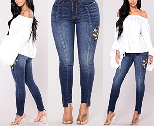 Estivi Cerniera Fuweiencore Ricamati Skinny Bassa Alta Vita Blu Da A Fiori Jeans Aderenti Pantaloni Donna IqZRX