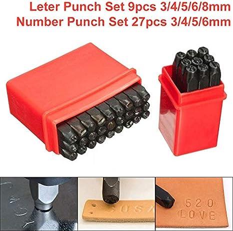 herramienta de metal para marcar el alfabeto Juego de punzones de letras y n/úmeros con funda para bricolaje hecho a mano