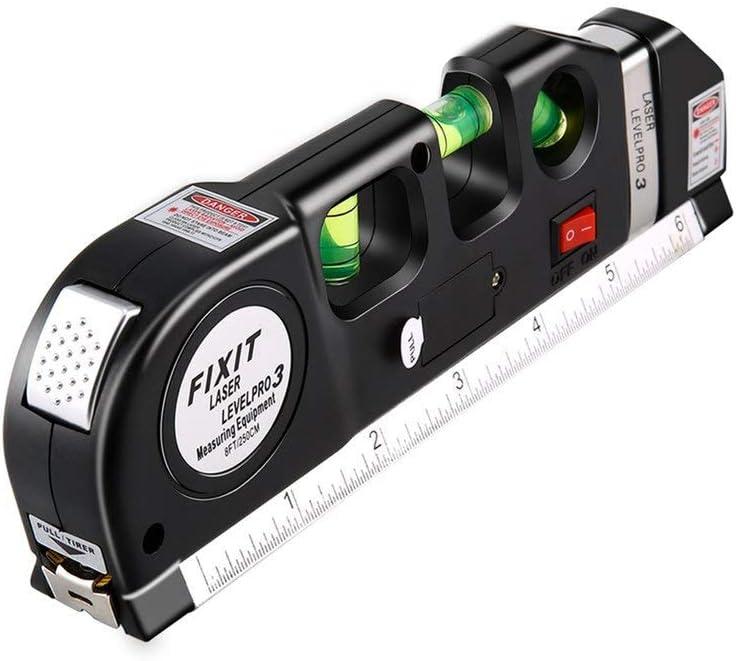 jaune Multipurpose Lv02/2,4/m Niveau laser Horizon vertical ruban /à mesurer Standard et r/ègle m/étrique ruban adh/ésif