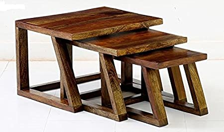 Ringabell Twees Solid Wood Nest of Table Set of 3 (Walnut Finish)