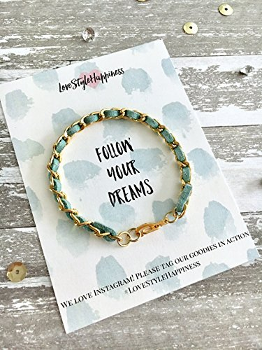 Chain Bracelet, Suede woven chain bracelet,Friendship Bracelet, Dream Card