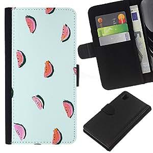 Sony Xperia Z1 / L39h / C6902 Modelo colorido cuero carpeta tirón caso cubierta piel Holster Funda protección - Watermelon Blue Fruit Pattern Minimalist