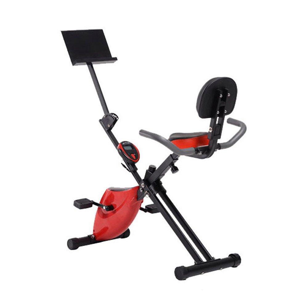 トレーニングエアロバイク サイクルエクササイズマシン、ホームオフィスフィットネス折りたたみ磁気制御回転紡績自転車多機能怠惰な車 (色 : 赤)   B07Q2LQP32