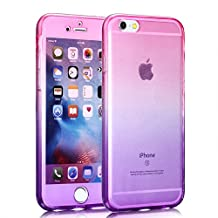 Aearl iPhone X XS Case,Ultra Thin Crystal Clear 2 Piece TPU 360 Degree Full body Coverage Protection Shock Absorbing Protective Bumper Cover With Built in Screen Protector For Apple iPhone X XS 5.8 inch 2018-Pink+Purple