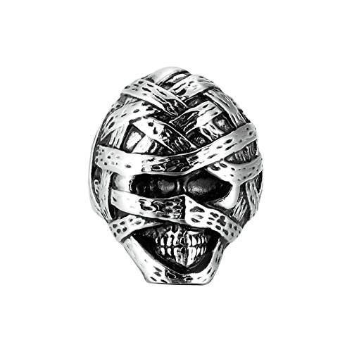 AmDxD Jewelry Stainless Steel Men Ring Band for Mummy Skull Rings Silver Black Tone Size 7 (Do It Yourself Mummy Costume)