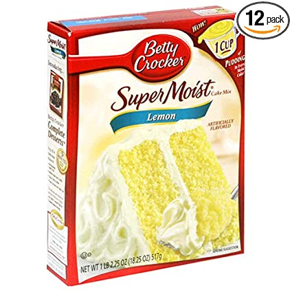 Com Betty Crocker Supermoist Cake Mix Lemon 18 25 Ounce Bo Pack Of 12 With Pudding Grocery Gourmet Food