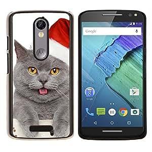 EJOOY---Cubierta de la caja de protección para la piel dura ** Motorola Moto X3 3rd Generation ** --British Shorthair gato azul ruso de Navidad