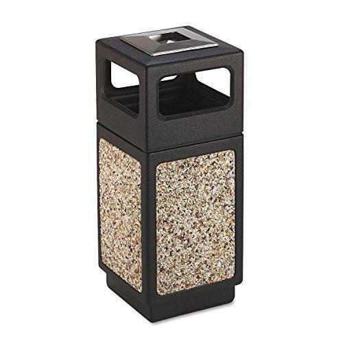 Safco 9470NC Canmeleon Ash/Trash Receptacle Square Aggregate/Polyethylene 15gal Black