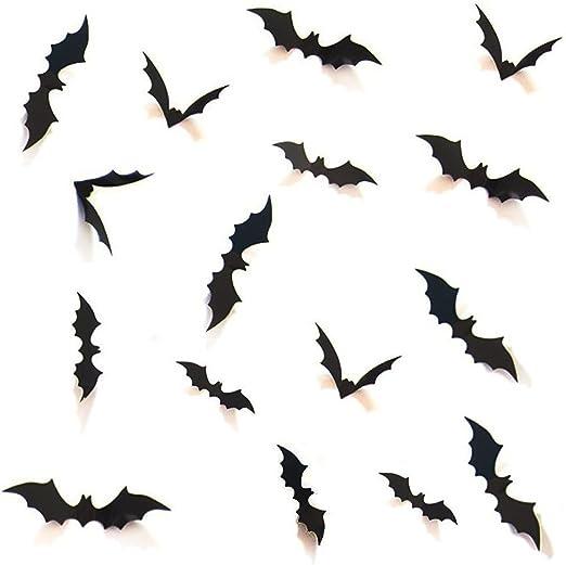 HOZZQ DIY Halloween Party Supplies PVC 3D Decorative Scary Bats