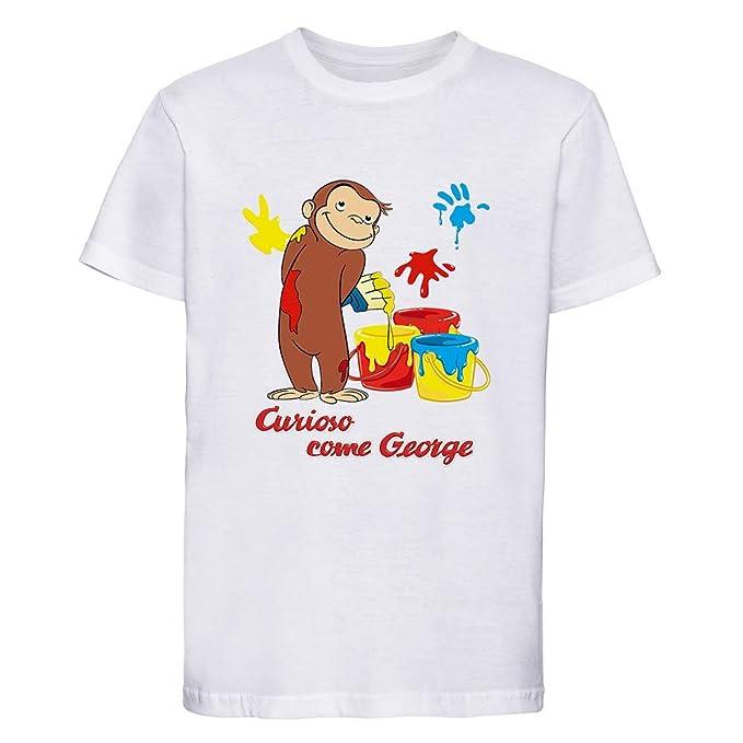 SpotApplick T Shirt Maglia Bambino Bambina Uomo Donna Curioso Come George  Mezza Manica 100% Cotone Bianca  Amazon.it  Abbigliamento 3fc33f4a37d