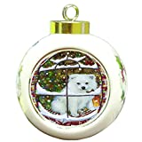 Please Come Home For Christmas American Eskimo Dog Sitting In Window Round Ball Ornament D366