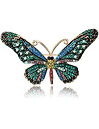7931e292b Vintage Butterfly Brooch Pin Rhinestones Crystal Antique Cute Animal Shape  Corsages Scarf Clips Brooches for Women