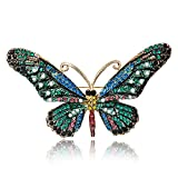 iDMSON Clear Rhinestone Butterfly Brooch Pin - Colorful Crystal Gold Plated Animal Enamel Lapel Pin For Women (Style 4)