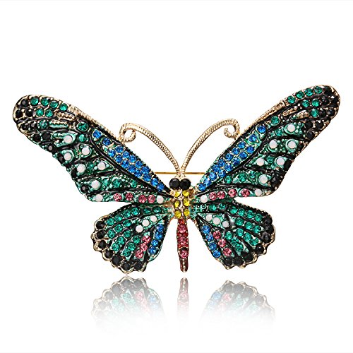 RINHOO FRIENDSHIP Vintage Butterfly Brooch Pin Rhinestones- Crystal Antique Cute Animal Shape Corsages Scarf Clips Brooches For Women (Jewelry Pin Brooch Crystal)