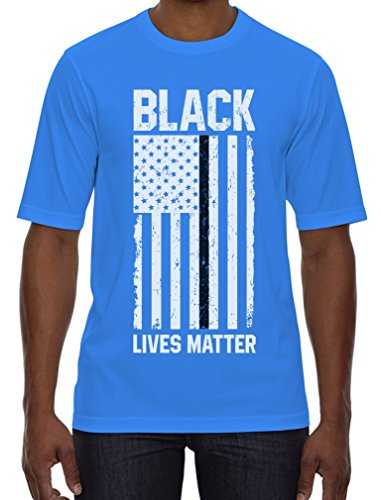 Black Lives Matter - Thin Black Line U.S Flag Civil Rights T-Shirt Small Aqua