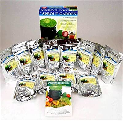 Deluxe Sprouting Starter Kit w/ 12 Lbs Organic Seed - Grow Sprouts: 3 Tray Sprout Garden, Seeds: Alfalfa, Radish, Clover, Mung Bean, Garbanzo Bean, Green Pea, Crunchy Lentil Fest & More
