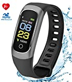 Fitness Tracker HR,COOLHILLS IP68 Waterproof Heart Rate Monitor Bluetooth Activity Bracelet with Pedometer Step Counter Calorie Burned Sleep Monitor Smart Fit Wristband for Men,Women,Android & iOS