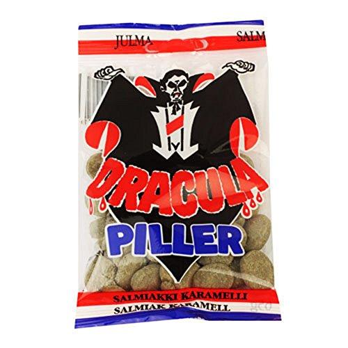 (3 Bags x 65g of Dracula Piller - Swedish Hot Salmiac - Salmiak - Salmiakki - Licorice - Caramel - Boiled - Hard - Candies - Sweets)