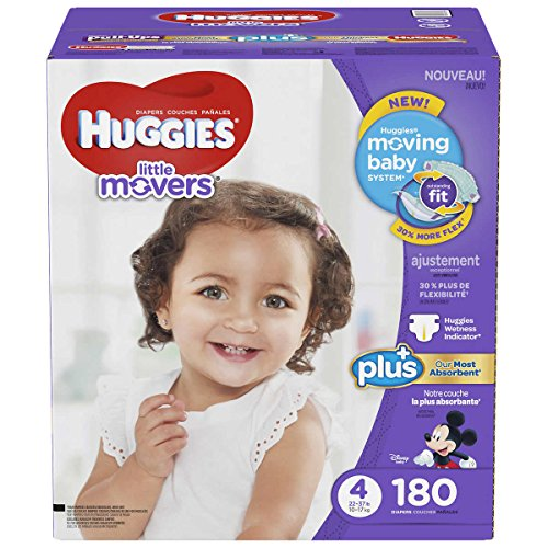 Huggies Little Movers Diapers Plus, Size 4, 180 Count by HUGGIES