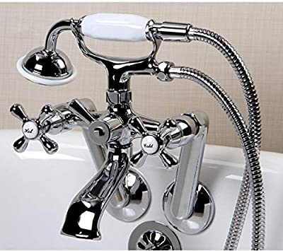 """Chrome Tub Mount Clawfoot Bathtub Filler Faucet Kit W/Hand Shower, Drain, Water Supplies And Floor Stops - Fits 3-3/8"""" Tub Drilling"""