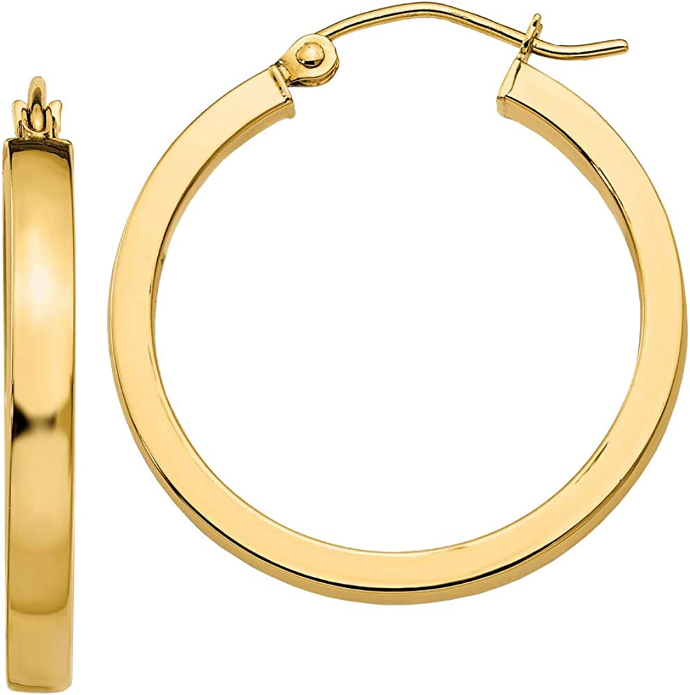 14k White Gold 2x3MM Rectangle Tube Hoop