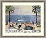 """Product Type: Framed Art Print. Title: Promenade a Nice. Artist: Raoul Dufy. Subject: transportation, people, global, beach. Frame: Bel Volto Silver Pewter Scoop 1 3/4"""" Wood. Mat: White/silver mist grey. Image Dimensions: 25"""" x 19"""". Outer Size: 32.88..."""