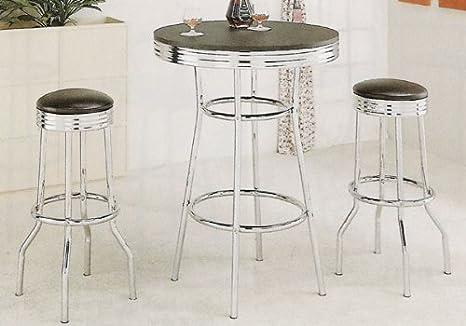 Amazon.com: Black Retro Chrome Bar Table Set 50s Barstool Stools: Kitchen U0026  Dining
