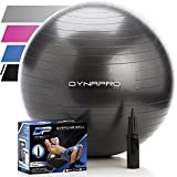 Exercise Ball - 2,000 lbs Stability Ball - Professional Grade – Anti Burst Exercise Equipment for Home, Balance, Gym, Core Strength, Yoga, Fitness, Desk Chairs (Black, 65 Centimeters)