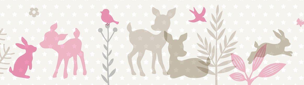 lovely label Bordüre selbstklebend HÄSCHEN & REHE MINT/GRAU/BEIGE - Wandbordüre Kinderzimmer / Babyzimmer mit Hase und Reh in versch. Farben - Wandtattoo Schlafzimmer Mädchen & Junge, Wanddeko Baby / Kinder
