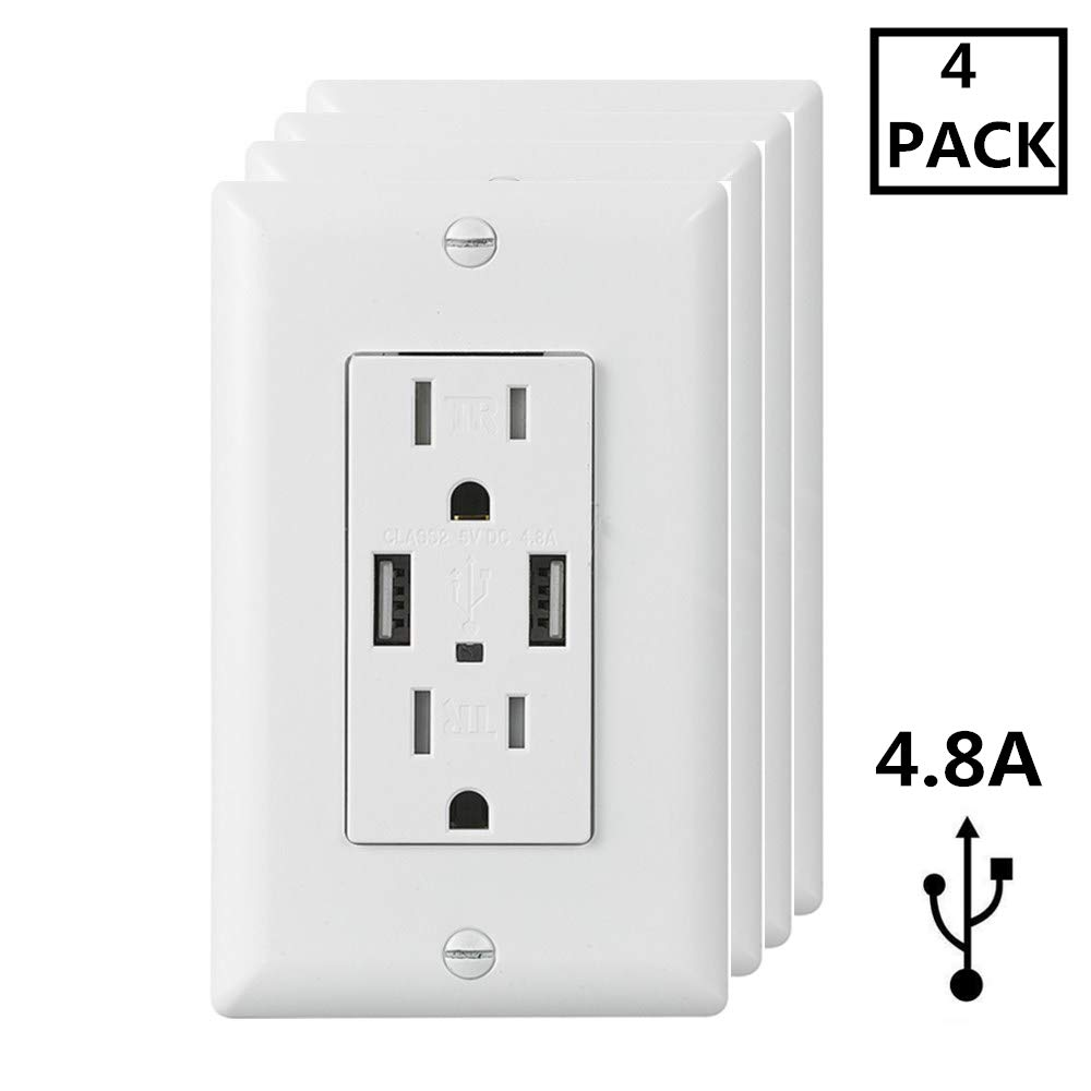 Ecoeler 4.8A USB Outlet, USB Wall Outlet, 15 Amp Tamper Resistant Duplex Receptacle USB Charger Power Outlet,UL Listed, Wall Plate Include(4 Pack)