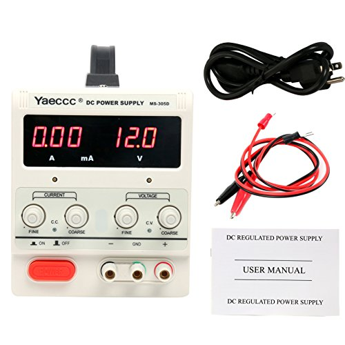 YaeCCC Variable Adjustable Lab DC Power Supply 0-30V 0-5A - US Power Cord with Alligator Test Lead Set