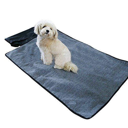 NACOCO Dog Mat Pet Blanket Portable Cat Pad Warm Cushion for Outdoor Travel Indoor Kennel Car Food Play Floor Bed Door Crate Mats (Grey)