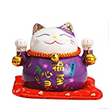 Tgfer 4.5'' Purple Ceramic Maneki Neko Lucky Cat Coin Bank Style Fortunes