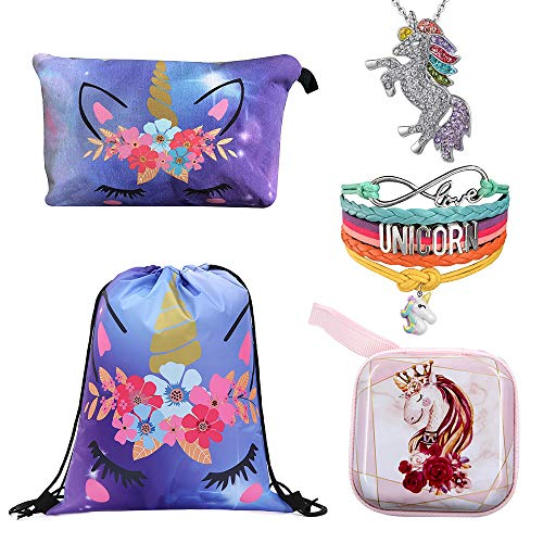 (5 Unicorn Gifts Set for Girls- Unicorn Drawstring Backpack/Unicorn Makeup Bag/Handmade Rainbow Unicorn Bracelet Wristband/Rainbow Unicorn Necklace/Unicorn Coin Purse (Unicorn Gift-K))