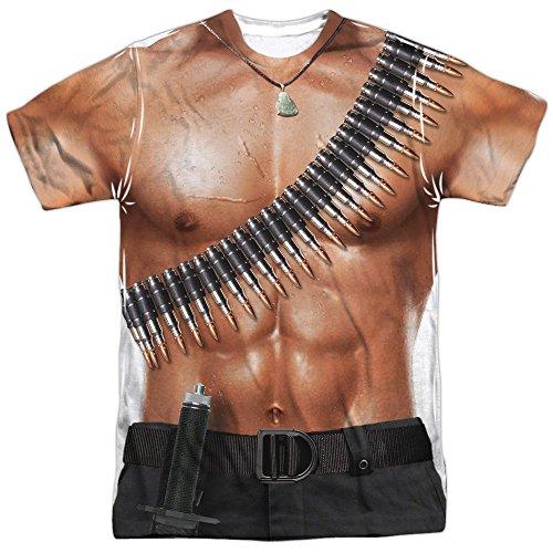 Rambo III Rambo Costume (Front Back Print) Mens Sublimation Shirt White LG