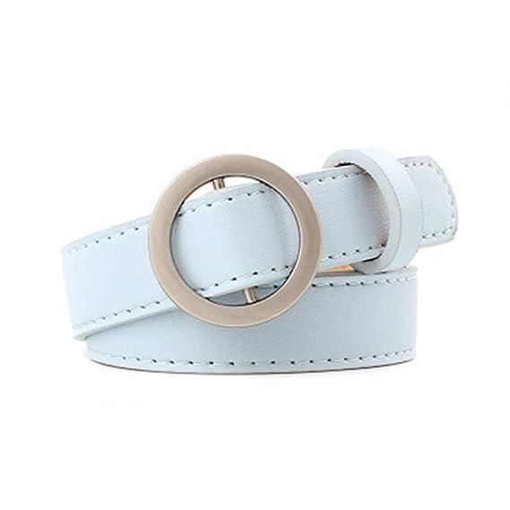 HCFKJ Cinturones De Moda Mujeres SeñOras Ocio Casual Sin Agujero CinturóN  De Cuero (Azul) 94dc2155004d