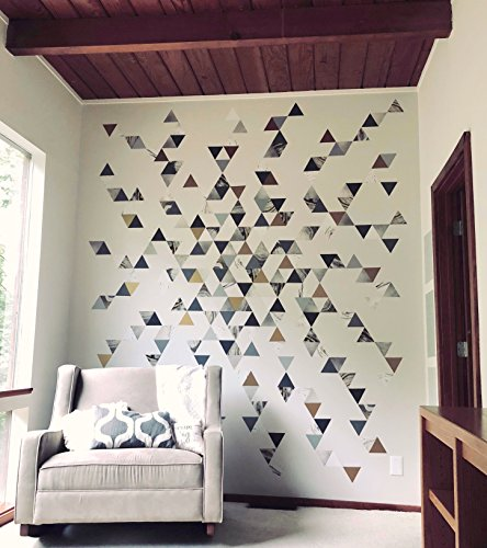 Modern Art Wall Decals, Gold, Gray, Marble, Triangles, Geometric Decals, Repositionable, Fabric Wall Decals Plus 6 Bonus Metallic Gold Triangle Vinyl Decals by Wall Dressed Up (Image #8)