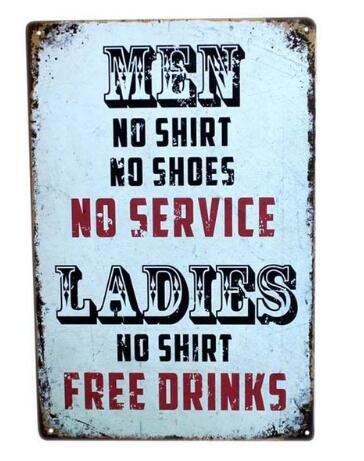 Men Metal Sign Tin Signs Retro Shabby Wall Plaque Metal Poster Plate 20x30cm Wall Art Coffee Shop Pub Bar Home Hotel Decor
