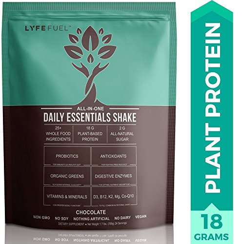 Vegan Meal Replacement Shake by LyfeFuel - Low Carb Plant Based Protein + Organic Superfood Powder - Ideal Shakes for Men & Women on Ketogenic & Vegetarian Diet - 18 G Protein (Chocolate, 24 Servings) by LYFE Fuel
