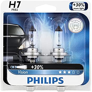 Philips H7 Vision Upgrade Headlight Bulb, 2 Pack