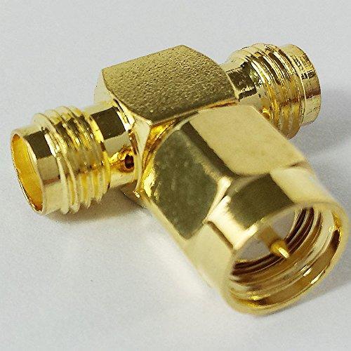 CESS SMA Male to SMA Dual 2-Way Female M/F Splitter Adapter - SMA Male to SMA Dual Female (2 - Connector Dual F