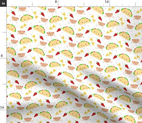 Spoonflower Taco Party Fabric - Mex Hipster Food Taco Mexican Salsa Fiesta Cinco De Mayo Chili Pepper Kawaii Cute by Clayvision Printed on Sport Lycra Fabric by The Yard