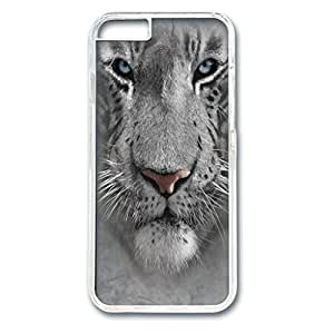 Custom Case with White Tiger Face Personalized Back Snap On Case for iPhone 6 4.7 PC Transparent