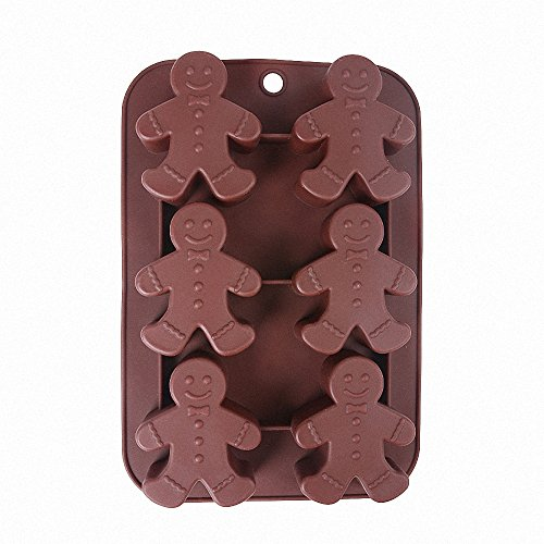 Gingerbread Man Silicone Mold - MoldFun Christmas Party Gingerbread Mold for Chocolates, Soaps, Cake Baking, Ice Cubes, Jello Shots, Muffins, Cookies
