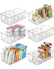 mDesign Opbergdoos - stapelbare doos met vier vakken voor het bewaren van levensmiddelen - moderne keukenorganizer voor soepen, specerijen enz. - doorzichtig