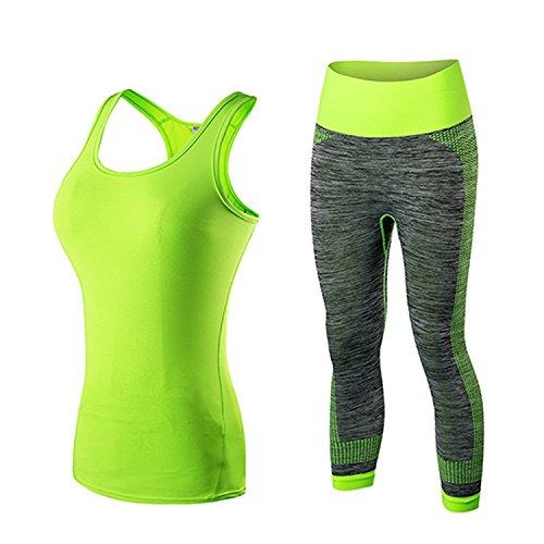 Women Sportswear Workout Tracksuit Fitness Tank Top&Capri Pants Yoga Sets,2002green5081green,L