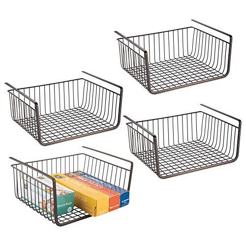 mDesign Under Shelf Hanging Wire Storage Basket for Kitchen, Pantry, Cabinet - Pack of 4, Bronze