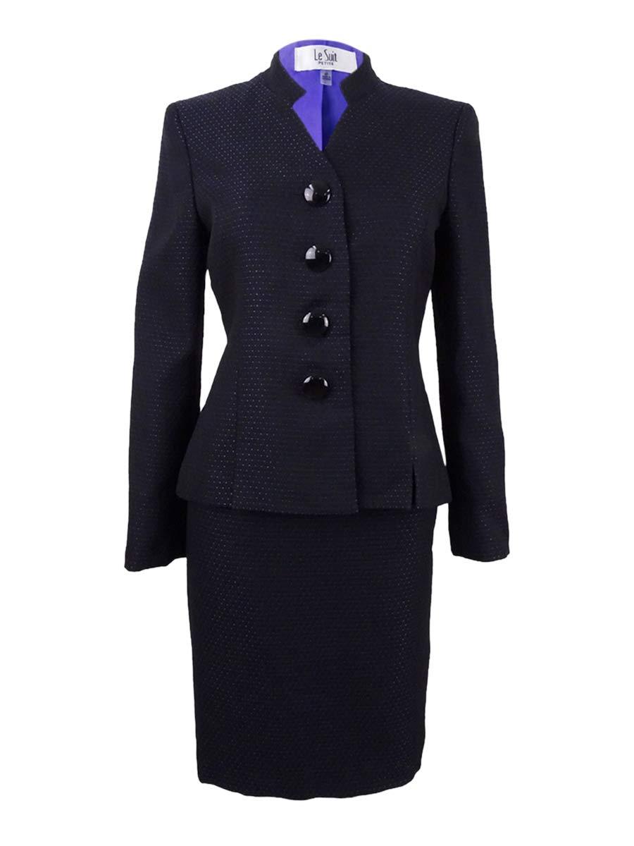 Le Suit Women's Petite Four-Button Tweed Skirt Suit (4P, Black Iris)